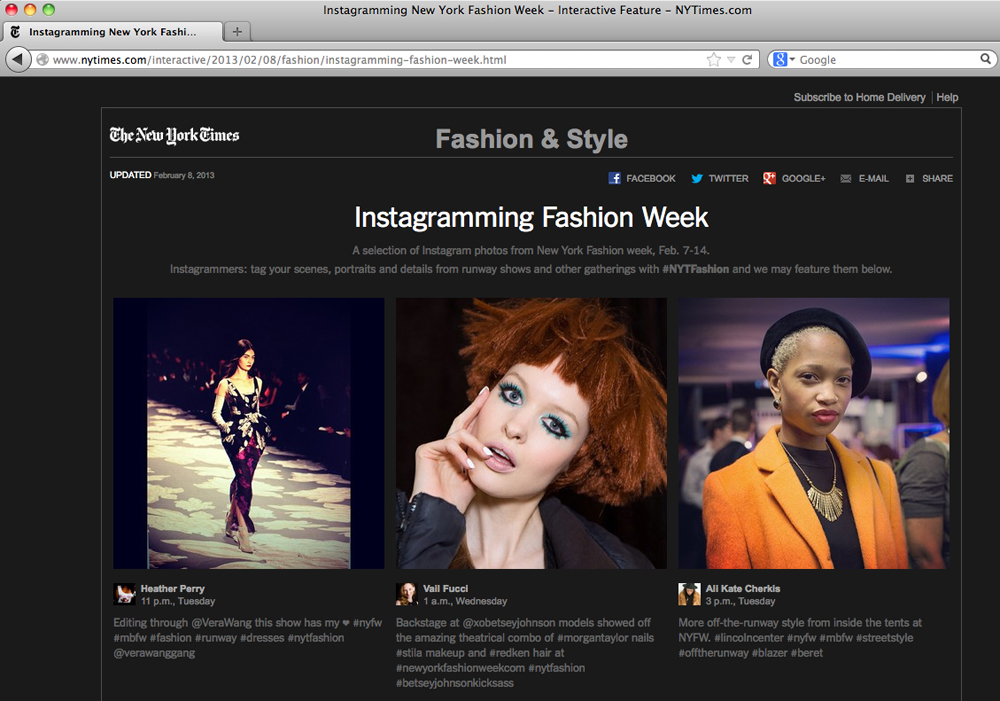 Image from Betsey Johnson show on the New York Times website featuring instagram shot by Vail Fucci at New York Fashion Week