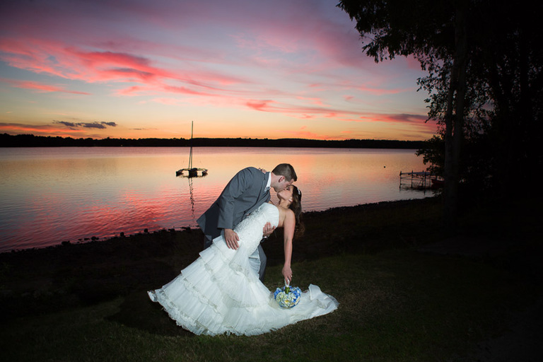 Wedding couple photo taken at sunset